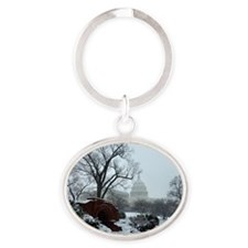 US Capitol Building Snow Photo Oval Keychain