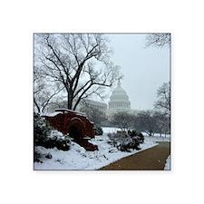 "US Capitol Building Snow Ph Square Sticker 3"" x 3"""