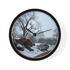 US Capitol Building Snow Photo Wall Clock
