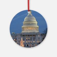US Capitol Building celebrates Chri Round Ornament