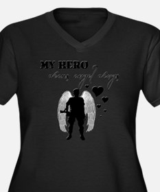 hero wears a Women's Plus Size Dark V-Neck T-Shirt