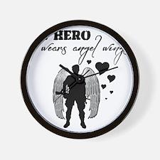 hero wears angel wings Wall Clock