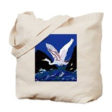 White Crane Spreads Its Wings Tote Bag