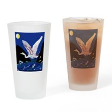 White Crane Spreads Its Wings Drinking Glass