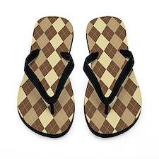 Brown Argyle Flip Flops