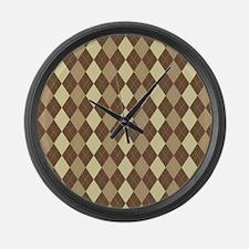 Brown Argyle Large Wall Clock