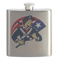 american patriot minuteman flag retro Flask