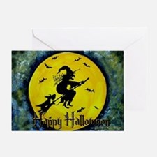 Halloween Scottie and Witch Greeting Card
