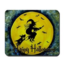Halloween Scottie and Witch Mousepad