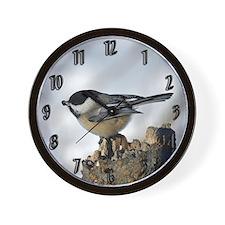 Chickadee With Seed Wall Clock