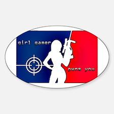 Girl Gamer Pwns You Sticker (Oval)