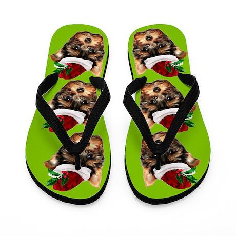 Christmas Yorkshire Terrier dog Flip Flops