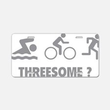 triaThreesome1C Aluminum License Plate