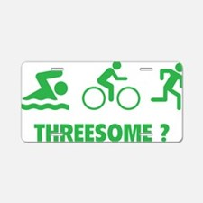 triaThreesome1D Aluminum License Plate