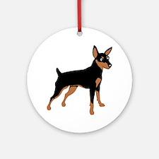Cartoon Miniature Pinscher 1 Round Ornament