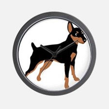 Cartoon Miniature Pinscher 1 Wall Clock