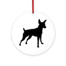 Shadow Miniature Pinscher v4 Round Ornament