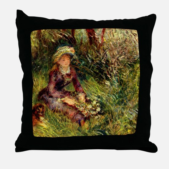 Mrs. Renoir with dog Throw Pillow