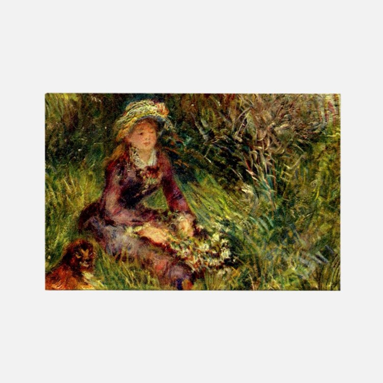 Mrs. Renoir with dog Rectangle Magnet