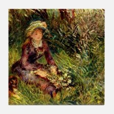 Mrs. Renoir with dog Tile Coaster