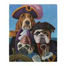 Dog Pirate Greeting Cards Throw Blanket