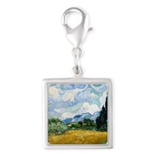 Wheat Field with Cypresses Silver Square Charm