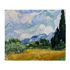 Wheat Field with Cypresses Throw Blanket