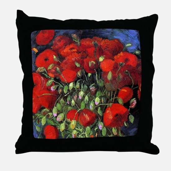 Van Gogh Red Poppies Throw Pillow