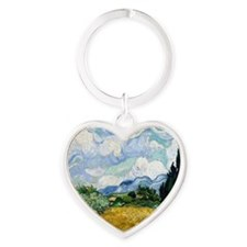 Wheat Field with Cypresses Heart Keychain