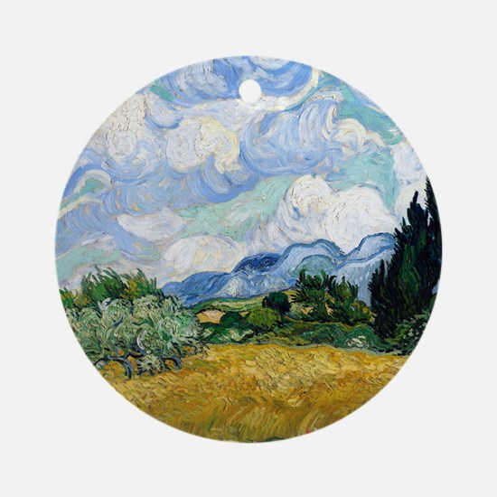 Wheat Field with Cypresses Round Ornament
