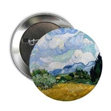 "Wheat Field with Cypresses 2.25"" Button"