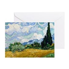 Wheat Field with Cypresses Greeting Card