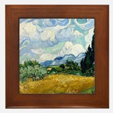 Wheat Field with Cypresses Framed Tile