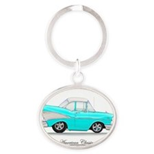 Blue 57 Chevy Oval Keychain