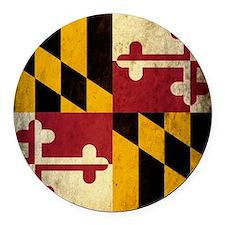 Grunge Maryland Round Car Magnet