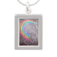 Chalk rainbow Silver Portrait Necklace