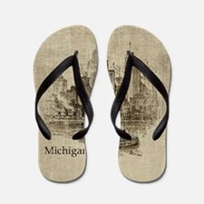 Vintage Michigan Skyline Flip Flops