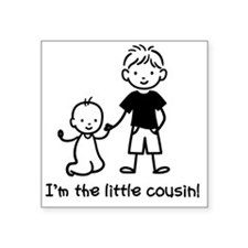 "Little Cousin Stick Figures Square Sticker 3"" x 3"""