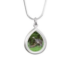 Turkey and Rabbit Silver Teardrop Necklace