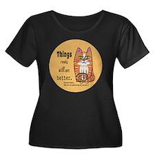 Heres A  Women's Plus Size Dark Scoop Neck T-Shirt