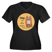 Heres A Cat Women's Plus Size Dark V-Neck T-Shirt