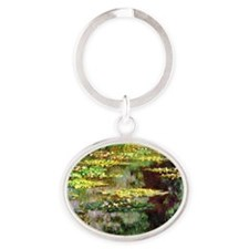 Claude Monet Sea Rose Pond Oval Keychain