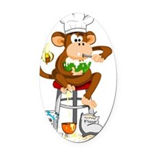 Monkey Chef Oval Car Magnet
