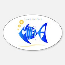 Milena blue fish Oval Decal