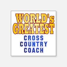 "World's Greatest Cross Coun Square Sticker 3"" x 3"""