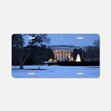white house snow Aluminum License Plate