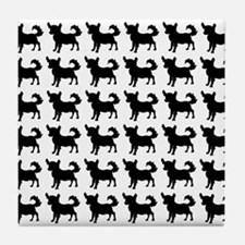 Chihuahua Silhouette Flip Flops In Bl Tile Coaster