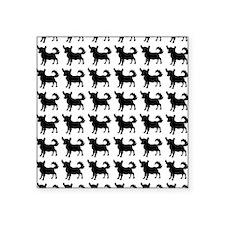 """Chihuahua Silhouette Flip F Square Sticker 3"""" x 3"""""""