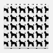 Poodle Silhouette Flip Flops In Black Tile Coaster