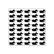 """Schnauzer Silhouette Flip F Square Sticker 3"""" x 3"""""""